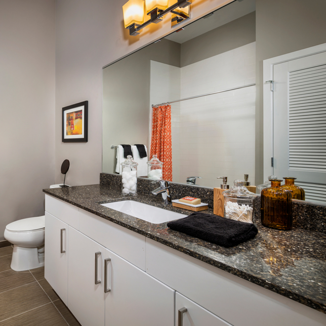 Remy bathroom with white cabinets and large sink area